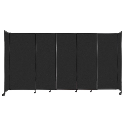 """StraightWall Sliding Portable Partition 11'3"""" x 6' Black High Density Polyester"""