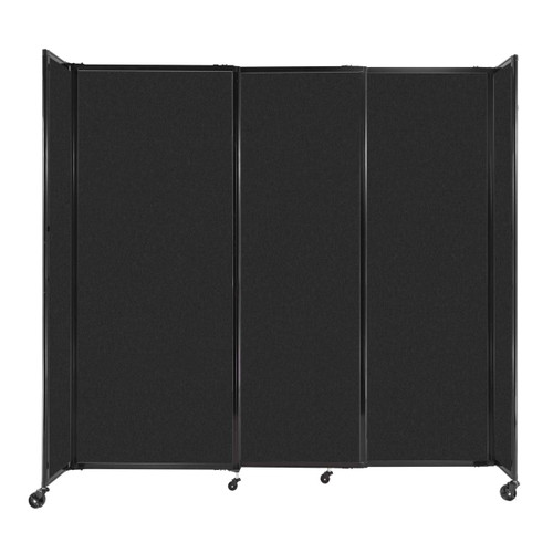 """StraightWall Sliding Portable Partition 7'2"""" x 6'10"""" Black High Density Polyester"""