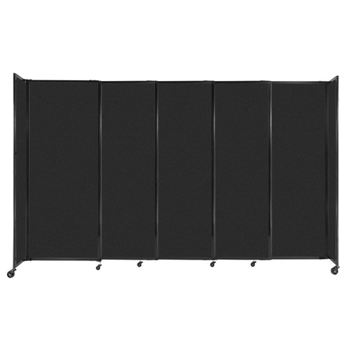 """StraightWall Sliding Portable Partition 11'3"""" x 6'10"""" Black High Density Polyester"""