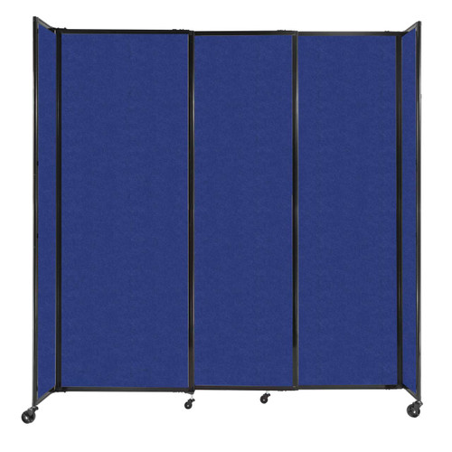 """StraightWall Sliding Portable Partition 7'2"""" x 7'6"""" Blue High Density Polyester"""