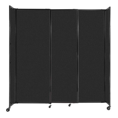 """StraightWall Sliding Portable Partition 7'2"""" x 7'6"""" Black High Density Polyester"""