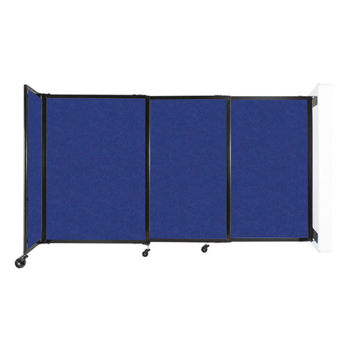 """Wall-Mounted StraightWall Sliding Partition 7'2"""" x 4' Blue High Density Polyester"""