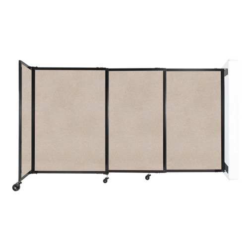 """Wall-Mounted StraightWall Sliding Partition 7'2"""" x 4' Beige High Density Polyester"""