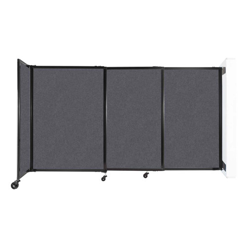 """Wall-Mounted StraightWall Sliding Partition 7'2"""" x 4' Dark Gray High Density Polyester"""