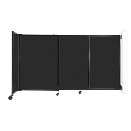 """Wall-Mounted StraightWall Sliding Partition 7'2"""" x 4' Black High Density Polyester"""
