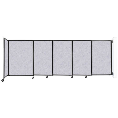 """Wall-Mounted StraightWall Sliding Partition 11'3"""" x 4' Marble Gray High Density Polyester"""