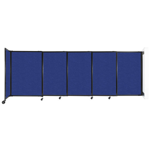 """Wall-Mounted StraightWall Sliding Partition 11'3"""" x 4' Blue High Density Polyester"""
