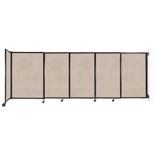 """Wall-Mounted StraightWall Sliding Partition 11'3"""" x 4' Beige High Density Polyester"""