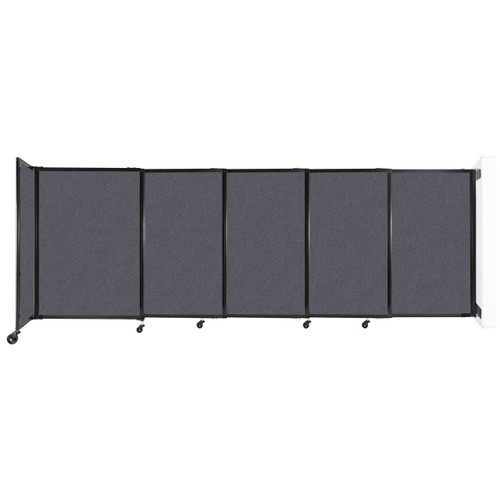 """Wall-Mounted StraightWall Sliding Partition 11'3"""" x 4' Dark Gray High Density Polyester"""