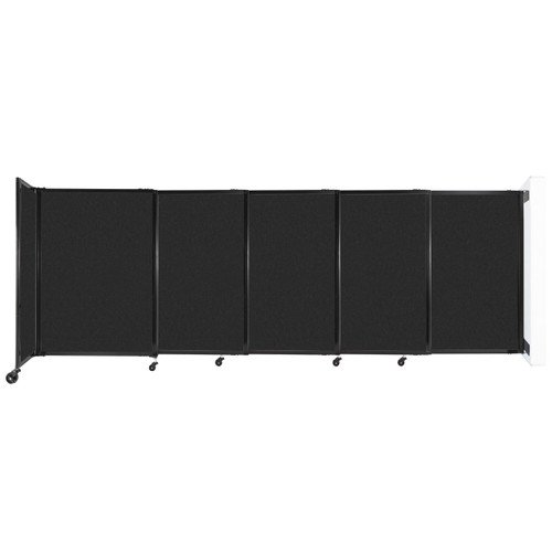 """Wall-Mounted StraightWall Sliding Partition 11'3"""" x 4' Black High Density Polyester"""