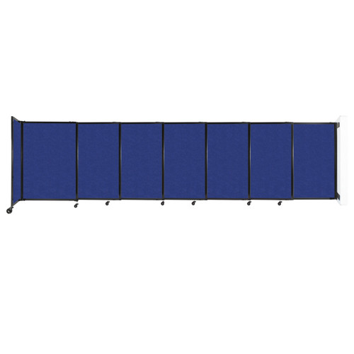 """Wall-Mounted StraightWall Sliding Partition 15'6"""" x 4' Blue High Density Polyester"""