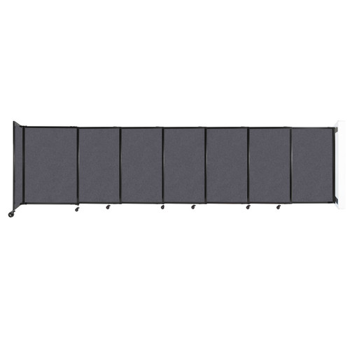 """Wall-Mounted StraightWall Sliding Partition 15'6"""" x 4' Dark Gray High Density Polyester"""