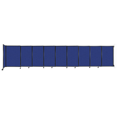 """Wall-Mounted StraightWall Sliding Partition 19'9"""" x 4' Blue High Density Polyester"""