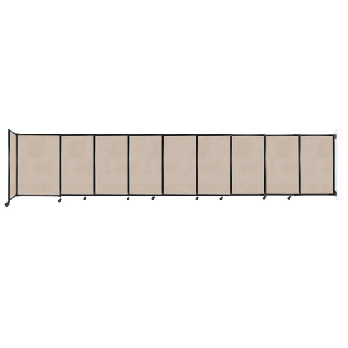 """Wall-Mounted StraightWall Sliding Partition 19'9"""" x 4' Beige High Density Polyester"""