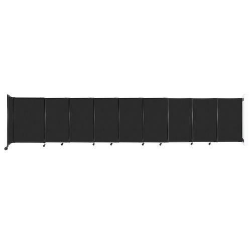 """Wall-Mounted StraightWall Sliding Partition 19'9"""" x 4' Black High Density Polyester"""