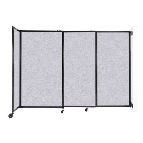 """Wall-Mounted StraightWall Sliding Partition 7'2"""" x 5' Marble Gray High Density Polyester"""