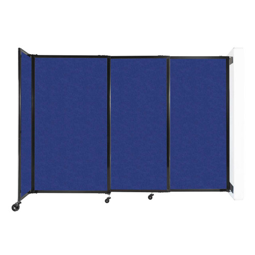 """Wall-Mounted StraightWall Sliding Partition 7'2"""" x 5' Blue High Density Polyester"""