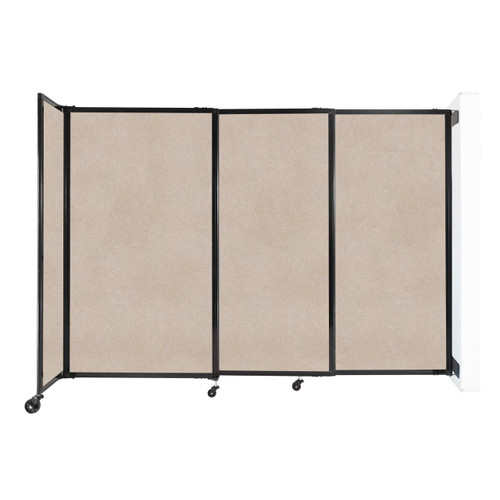 """Wall-Mounted StraightWall Sliding Partition 7'2"""" x 5' Beige High Density Polyester"""
