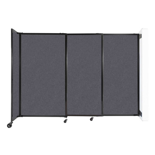 """Wall-Mounted StraightWall Sliding Partition 7'2"""" x 5' Dark Gray High Density Polyester"""