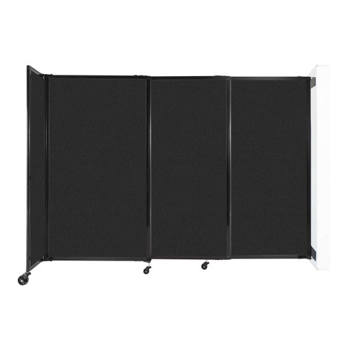 """Wall-Mounted StraightWall Sliding Partition 7'2"""" x 5' Black High Density Polyester"""