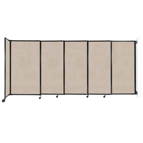"""Wall-Mounted StraightWall Sliding Partition 11'3"""" x 5' Beige High Density Polyester"""