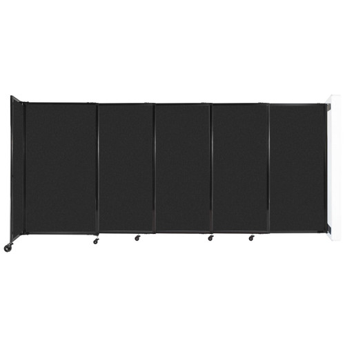 """Wall-Mounted StraightWall Sliding Partition 11'3"""" x 5' Black High Density Polyester"""