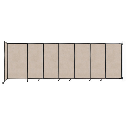 """Wall-Mounted StraightWall Sliding Partition 15'6"""" x 5' Beige High Density Polyester"""
