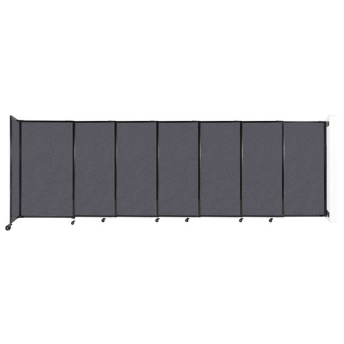"""Wall-Mounted StraightWall Sliding Partition 15'6"""" x 5' Dark Gray High Density Polyester"""