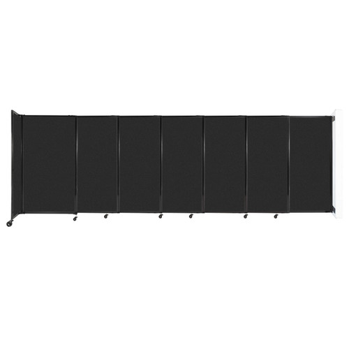 """Wall-Mounted StraightWall Sliding Partition 15'6"""" x 5' Black High Density Polyester"""