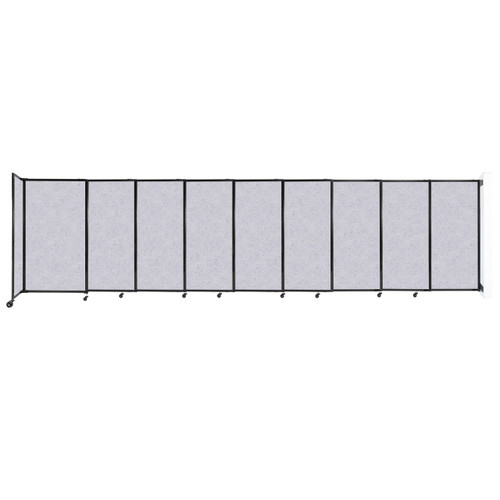 """Wall-Mounted StraightWall Sliding Partition 19'9"""" x 5' Marble Gray High Density Polyester"""
