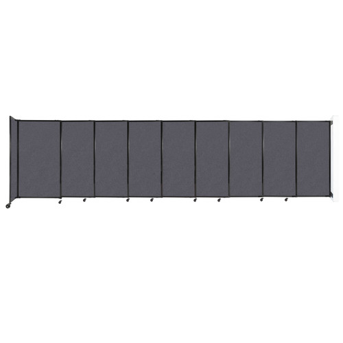"""Wall-Mounted StraightWall Sliding Partition 19'9"""" x 5' Dark Gray High Density Polyester"""