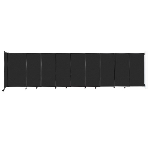 """Wall-Mounted StraightWall Sliding Partition 19'9"""" x 5' Black High Density Polyester"""