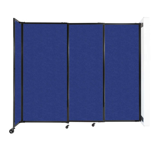 """Wall-Mounted StraightWall Sliding Partition 7'2"""" x 6' Blue High Density Polyester"""