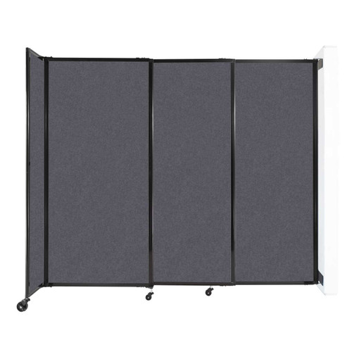 """Wall-Mounted StraightWall Sliding Partition 7'2"""" x 6' Dark Gray High Density Polyester"""