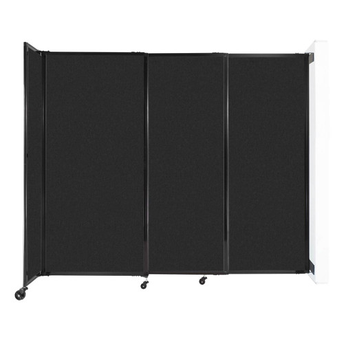 """Wall-Mounted StraightWall Sliding Partition 7'2"""" x 6' Black High Density Polyester"""