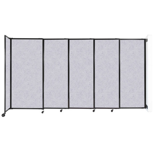 """Wall-Mounted StraightWall Sliding Partition 11'3"""" x 6' Marble Gray High Density Polyester"""