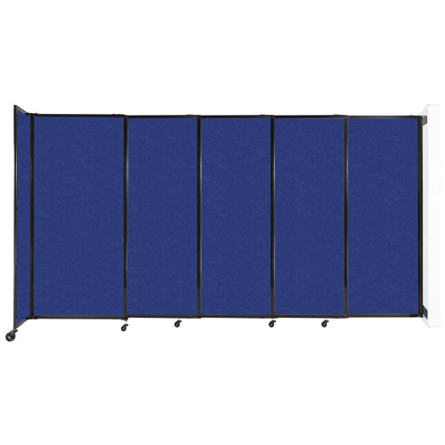 """Wall-Mounted StraightWall Sliding Partition 11'3"""" x 6' Blue High Density Polyester"""