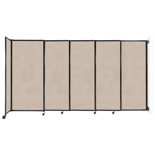 """Wall-Mounted StraightWall Sliding Partition 11'3"""" x 6' Beige High Density Polyester"""