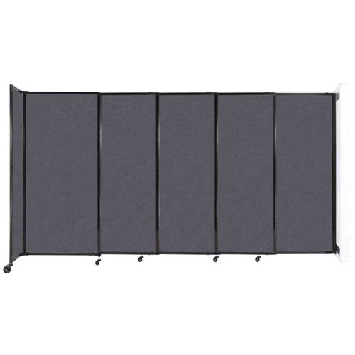 """Wall-Mounted StraightWall Sliding Partition 11'3"""" x 6' Dark Gray High Density Polyester"""