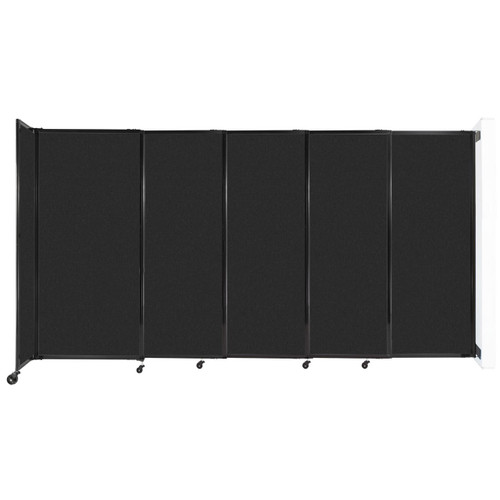 """Wall-Mounted StraightWall Sliding Partition 11'3"""" x 6' Black High Density Polyester"""