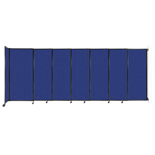 """Wall-Mounted StraightWall Sliding Partition 15'6"""" x 6' Blue High Density Polyester"""