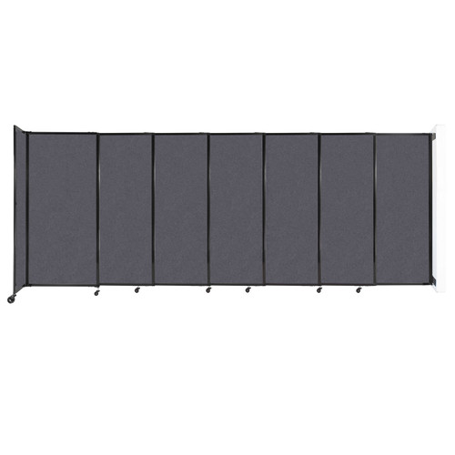 """Wall-Mounted StraightWall Sliding Partition 15'6"""" x 6' Dark Gray High Density Polyester"""