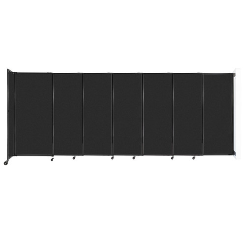 """Wall-Mounted StraightWall Sliding Partition 15'6"""" x 6' Black High Density Polyester"""