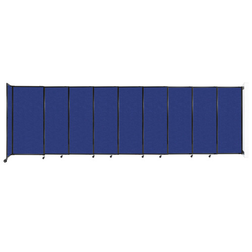 """Wall-Mounted StraightWall Sliding Partition 19'9"""" x 6' Blue High Density Polyester"""