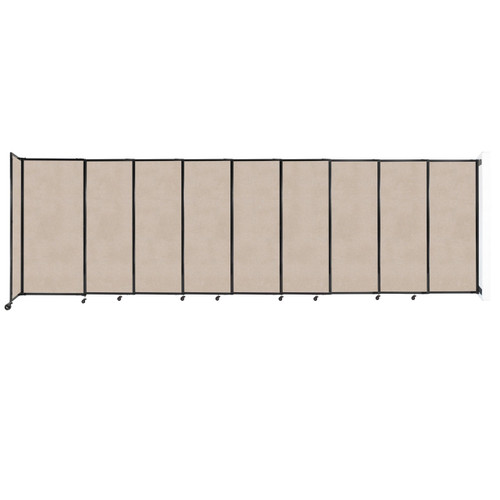 """Wall-Mounted StraightWall Sliding Partition 19'9"""" x 6' Beige High Density Polyester"""
