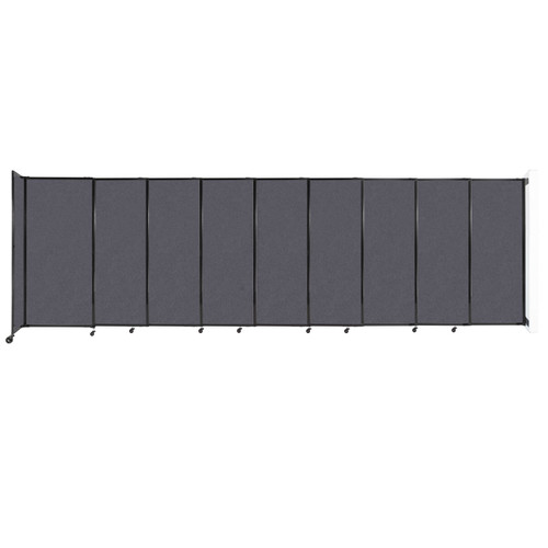 """Wall-Mounted StraightWall Sliding Partition 19'9"""" x 6' Dark Gray High Density Polyester"""