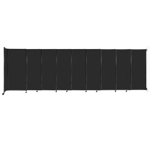 """Wall-Mounted StraightWall Sliding Partition 19'9"""" x 6' Black High Density Polyester"""