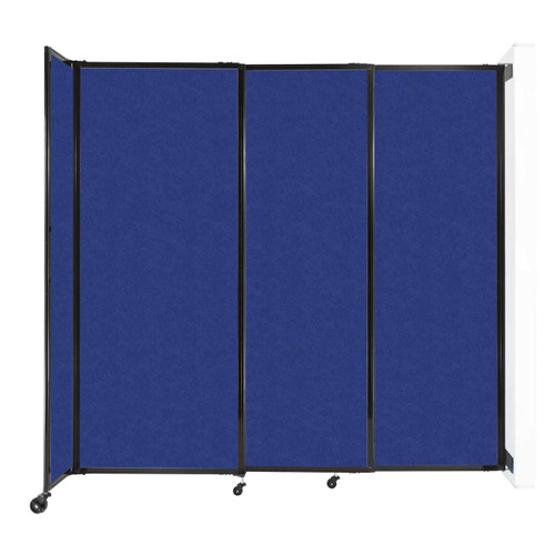 """Wall-Mounted StraightWall Sliding Partition 7'2"""" x 6'10"""" Blue High Density Polyester"""