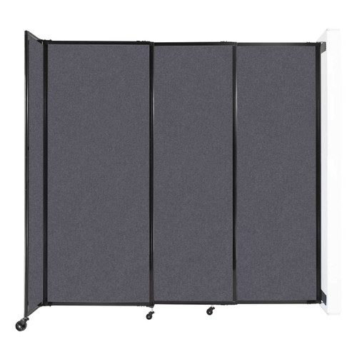 """Wall-Mounted StraightWall Sliding Partition 7'2"""" x 6'10"""" Dark Gray High Density Polyester"""