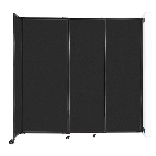 """Wall-Mounted StraightWall Sliding Partition 7'2"""" x 6'10"""" Black High Density Polyester"""